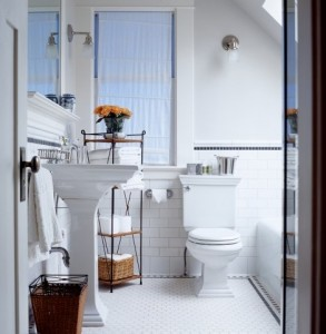 White mosaic tile in a traditional bathroom