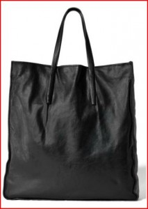 black tote theory large leather tote